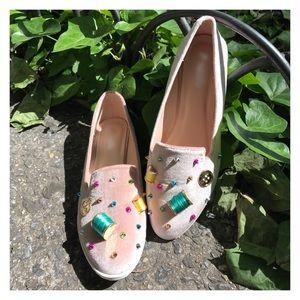 Shoes - whimsical • blush • embellished ballet flats • nib