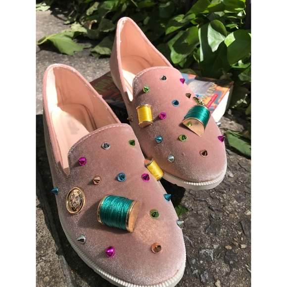 Shoes - whimsical embellished pink loafers • nib