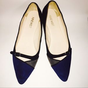 Nine West Black and Blue Suede Leather Flats