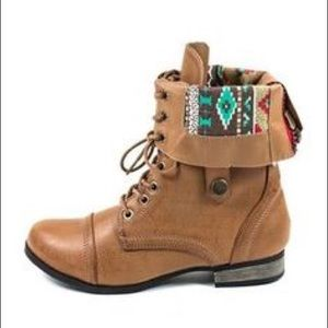 Body Central Shoes - Tribal accent combat boots