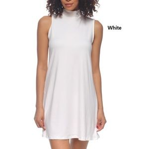 SALE White mock turtle neck t shirt dress