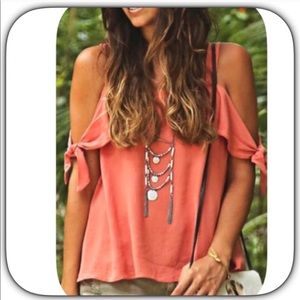 Boutique Tops - NWT Sweet Sexy Coral Pink Cold Shoulder Top