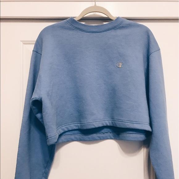 Champion Sweaters Light Blue Cropped Sweater Poshmark