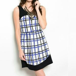 Dresses & Skirts - Blue Black White Plaid Dress