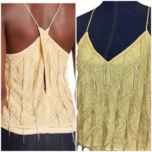 NEW FREE PEOPLE Large Gatsby Cream Beaded Tank Top
