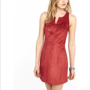 Express Rust Faux Suede Fringed Sleeveless Dress