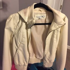 White leather jacket with detachable hood
