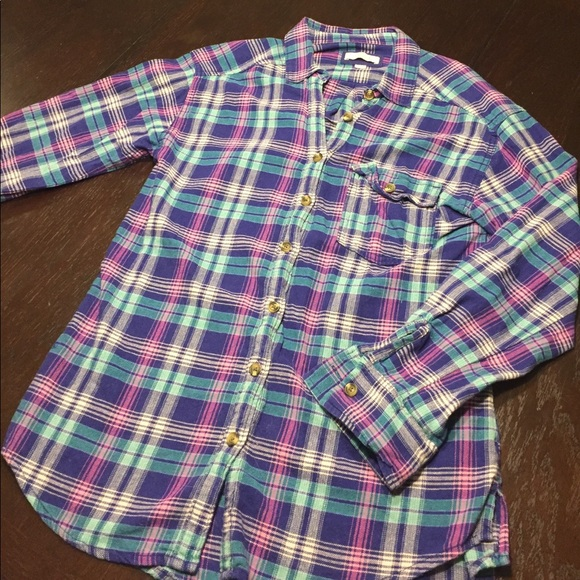73 Off Aerie Tops Multi Colored Plaid Button Down Shirt
