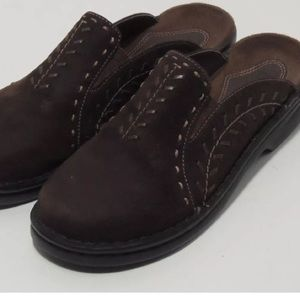 Clarks Shoes - Clarks Womens Brown Suede Leather Clog Shoes, 5M