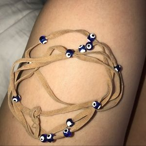 Jewelry - Tan Suede a Wrap with Evil Eye Beads