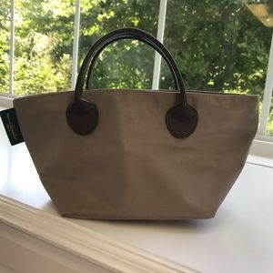 Herve Chapelier Handbags - Hervé Chapelier Small Tan Tote with leather straps