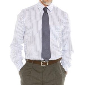 Ike Behar Other - Mens White and Blue Striped Ike Behar  Dress Shirt