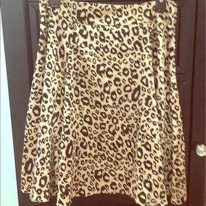 NWOT {A'gaci} Leopard Print Satin Skater Skirt