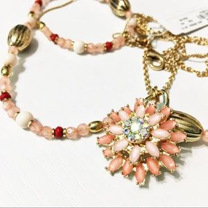 New York & Company Jewelry - NWT NY&Co Double Stand Pink Flower Necklace