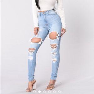 Fashion Nova Light wash high waisted jeans