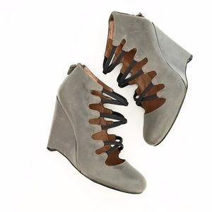 mrkt Shoes - mrkt Gray Leather Lace Up From Wedge