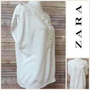 Zara White Basic Blouse