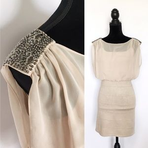 Papaya Dresses & Skirts - Papaya Cream Bodycon Dress with Loose Boatneck Top