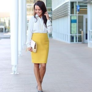 J. Crew Dresses & Skirts - J. Crew Wool No. 2 Pencil Skirt Yellow Size 2
