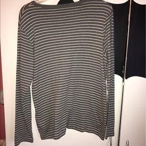 Joe Fresh Tops - Joe Fresh Grey/White striped long sleeve tee shirt