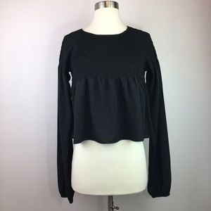 Staring at Stars Black Fit & Flare Cropped Blouse