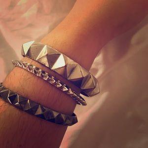 nOir Jewelry Jewelry - stud & spike silver bracelet set