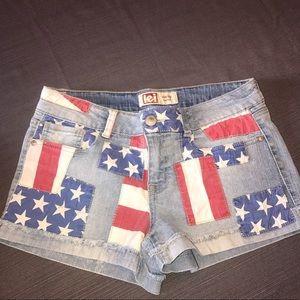 lei Pants - American Flag Denim Shorts