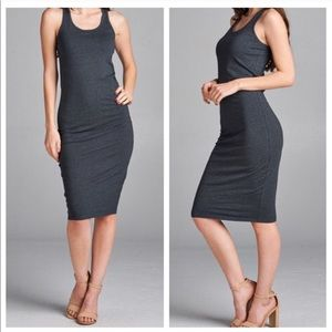 Classic Woman Dresses & Skirts - •CHARCOAL GRAY MIDI DRESS