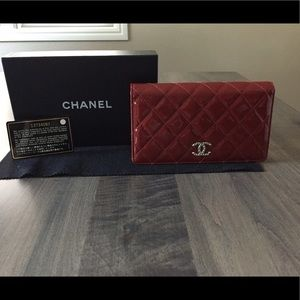 CHANEL Handbags - Chanel Red Patent  Leather Bifold Long Wallet