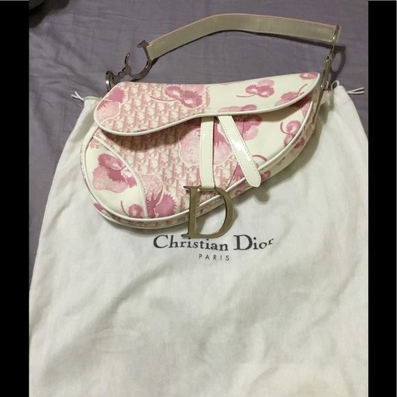 227eaa33b8c Christian Dior Handbags - Pink floral Christian Dior Saddle bag.