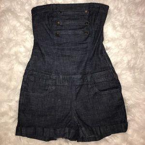 Denim - Sleeveless short jean romper