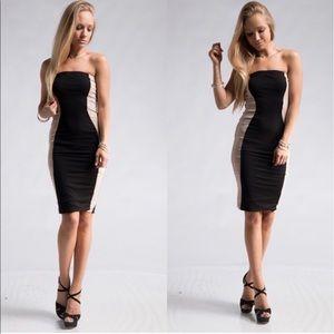 Fashionomics Dresses & Skirts - BLACK/TAUPE COLOR BLOCK DRESS!