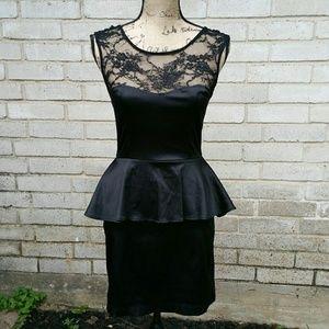 Black Poppy Dresses & Skirts - Black Lace Bodice Satin Preplum Party Dress M