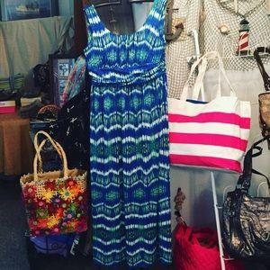 AB Studio Dresses & Skirts - 🇺🇸$ALE -Maxi Sundress blue, green & white EUC, L