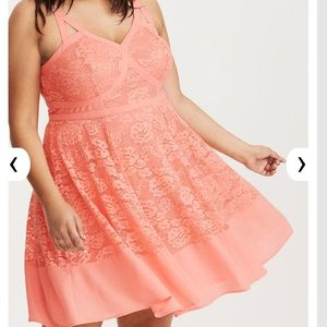 Torrid peach  Lace skater dress