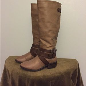 pink & pepper Shoes - Tan knee high boots