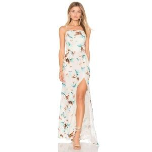 Stone Cold Fox Moss silk maxi dress, ivory floral