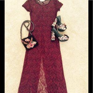 Reclaimed Vintage Dresses & Skirts - Vintage Maroon Lace Maxi Dress Unlined