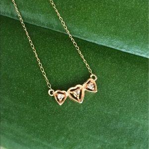 14k gold bar heart necklace