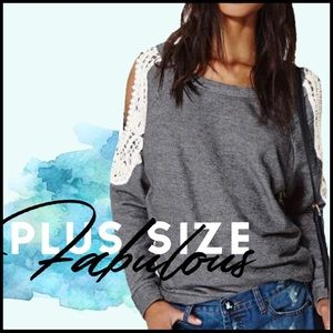 Boutique Tops - PLUS SIZE- Crochet Cold Shoulder
