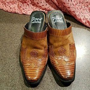 Tony Lama Shoes - Camel hair and lizard slides