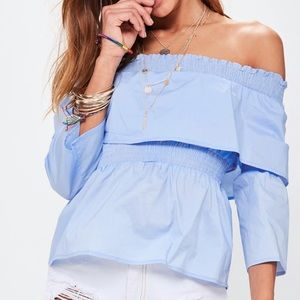 dbe8c7213872b Missguided Tops - ✨🆕 Blue Shirred Ruffle Off-Shoulder Bardot Top