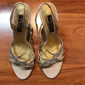 Nina Shoes - Nina shoes with rhinestone strap beige colored