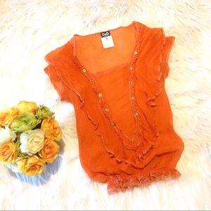 D&G Orange Silk and Lace Trim Blouse