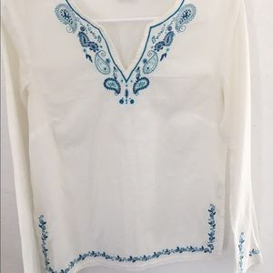At Last Tops - White with blue broidery blouse