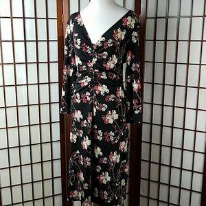 BCBG Dresses & Skirts - BCBG PARIS Floral 3/4 Sleeve Mid calf Dress