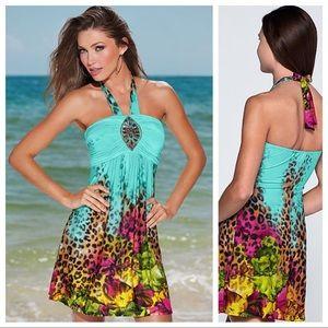 Venus Print Jeweled Halter Dress
