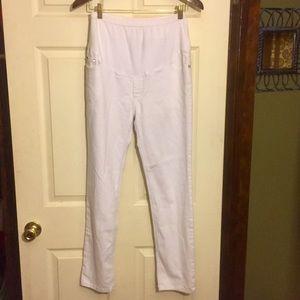 Oh! Mamma Pants - White Cotton Maternity Pants