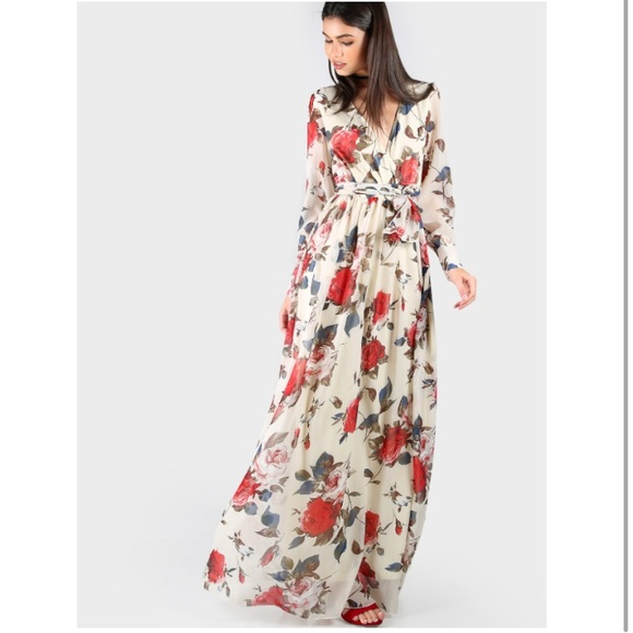 4426e83c3fbf1 Dresses | Red Floral Long Sleeve Wrap Maxi Dress Small | Poshmark