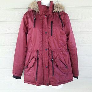 Sebby Jackets & Blazers - Sebby Burgundy Parka Jacket Juniors Size L